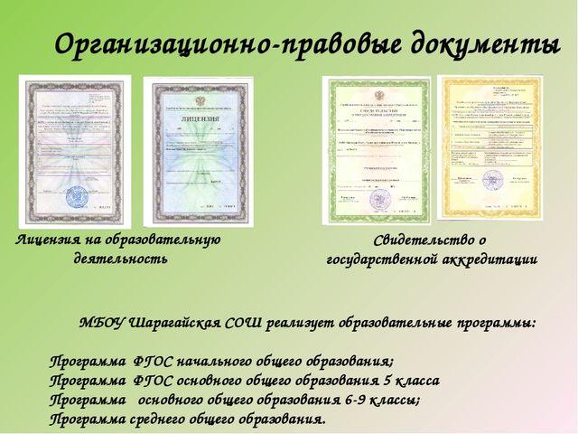 Организационно-правовые документы Лицензия на образовательную деятельность Св...
