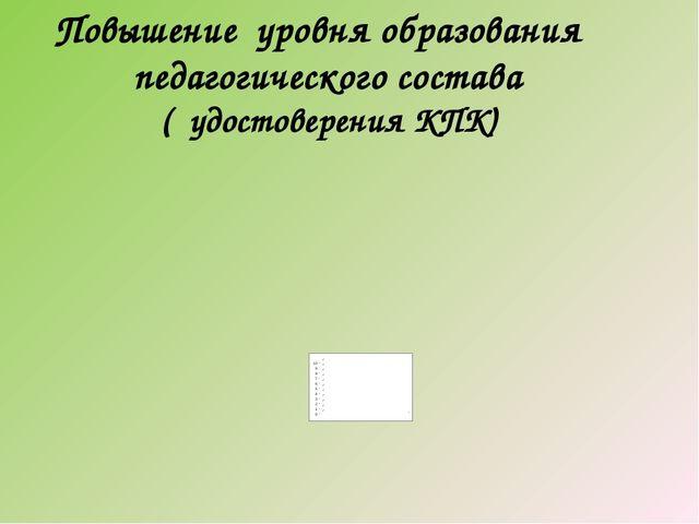 Повышение уровня образования педагогического состава ( удостоверения КПК)