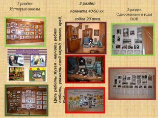 1 раздел История школы 2 раздел Комната 40-50 хх годов 20 века Цель работы му