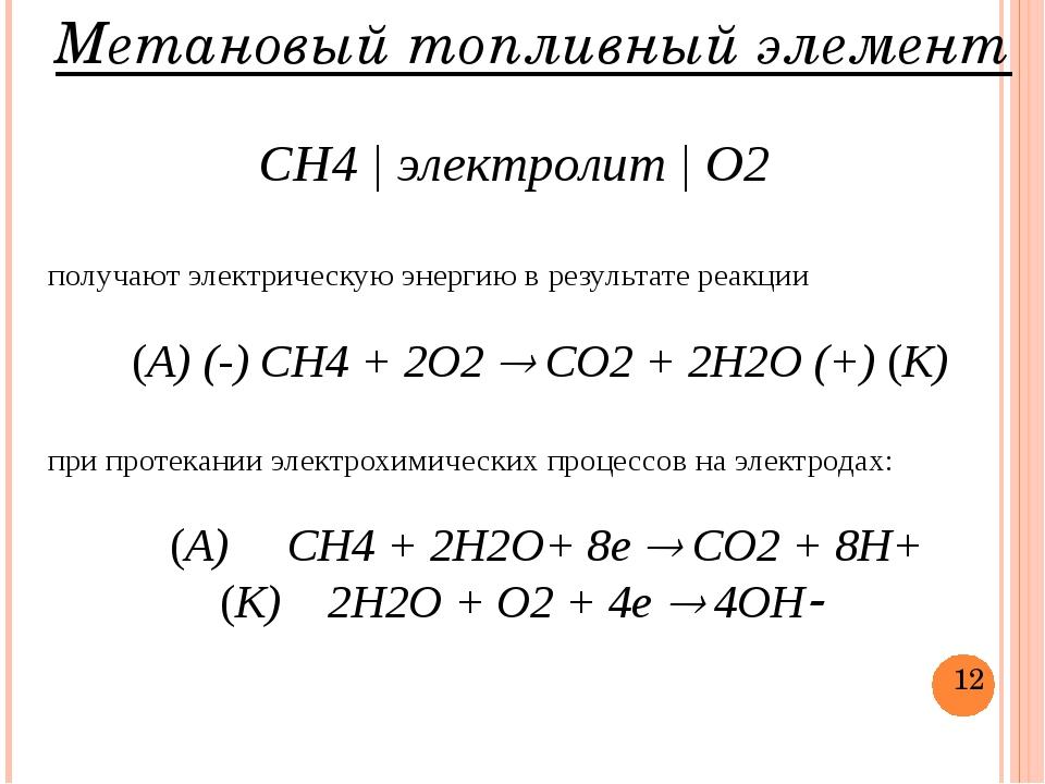 Метановый топливный элемент СН4 | электролит | О2 получают электрическую энер...
