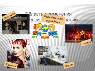 Области применения профессиональных знаний: Дом моды Образовательные учрежде