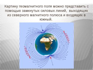 Картину геомагнитного поля можно представить с помощью замкнутых силовых лини
