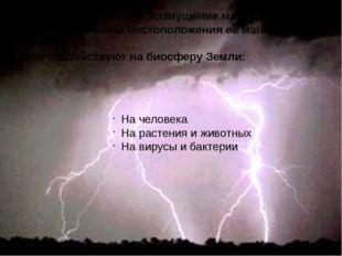 Магнитные бури – это возмущение магнитного поля Земли, изменение местоположе