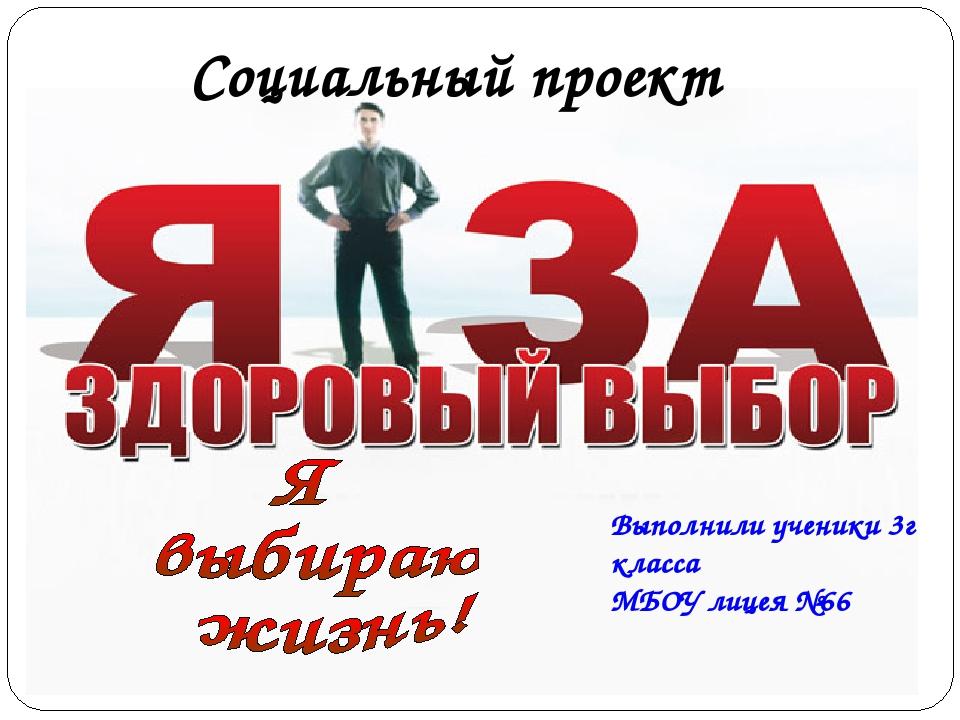 Выполнили ученики 3г класса МБОУ лицея №66 Социальный проект
