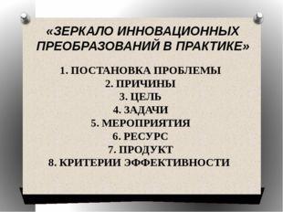 «ЗЕРКАЛО ИННОВАЦИОННЫХ ПРЕОБРАЗОВАНИЙ В ПРАКТИКЕ» 1. ПОСТАНОВКА ПРОБЛЕМЫ 2. П