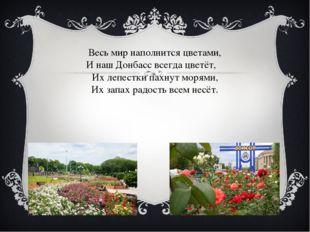 Весь мир наполнится цветами, И наш Донбасс всегда цветёт, Их лепестки пахнут
