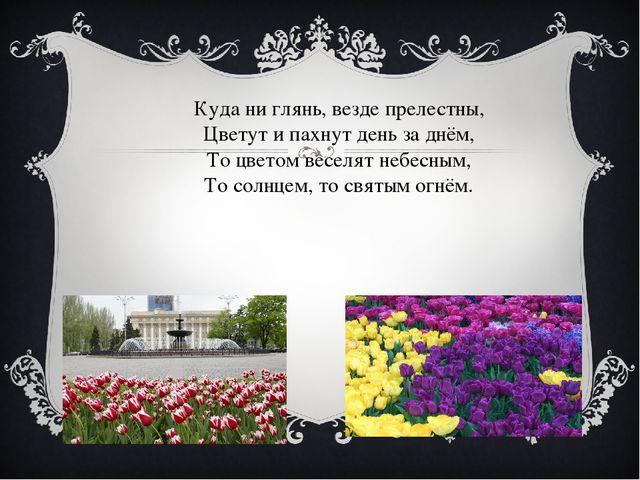 Куда ни глянь, везде прелестны, Цветут и пахнут день за днём, То цветом весел...