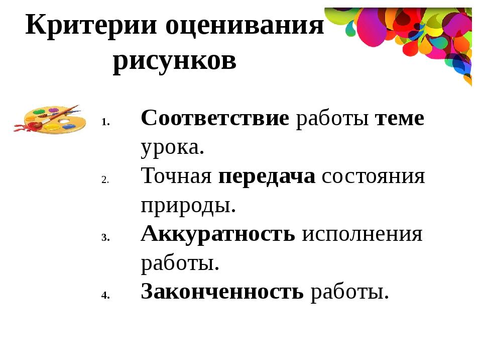 Критерии оценивания конкурсов рисунка