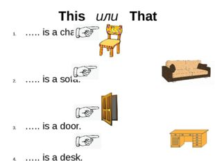 This или That ….. is a chair. ….. is a sofa. ….. is a door. ….. is a desk.
