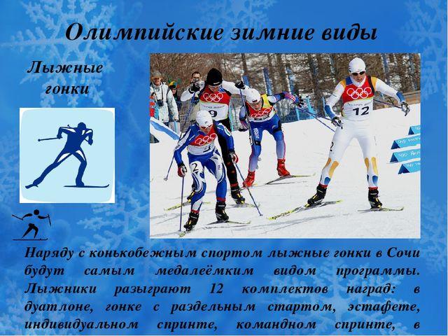 Олимпийские зимние виды спорта Лыжные гонки Наряду с конькобежным спортом лыж...