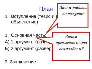 План Вступление (тезис и его объяснение) Основная часть: А) 1 аргумент (разве