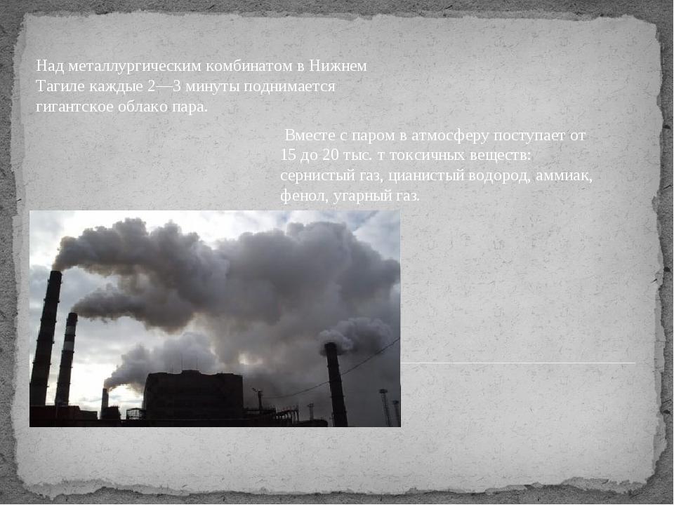 Над металлургическим комбинатом в Нижнем Тагиле каждые 2—3 минуты поднимается...