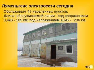Ляменьгсие электросети сегодня Обслуживает 48 населённых пунктов. Длина обслу