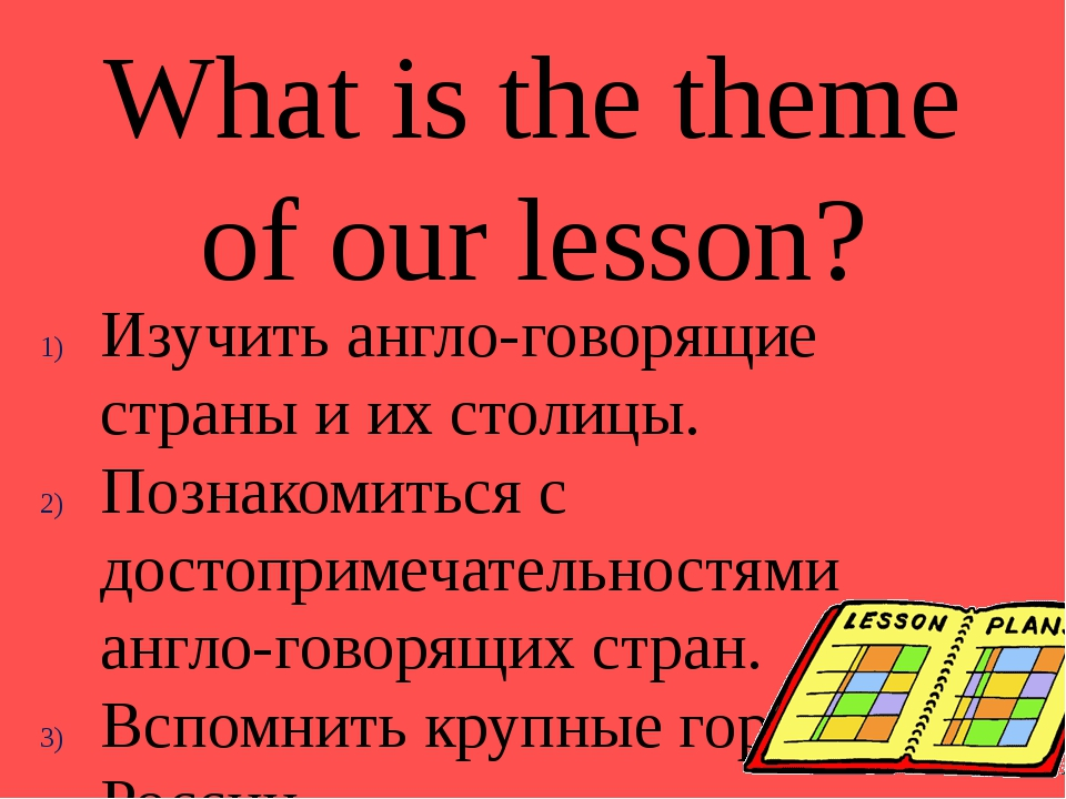 What is the theme of our lesson? Изучить англо-говорящие страны и их столицы....