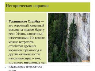 Историческая справка Усьвинские Столбы— это огромный каменный массив на прав