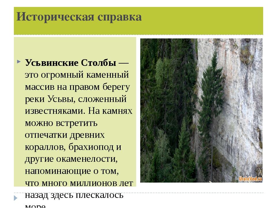 Историческая справка Усьвинские Столбы— это огромный каменный массив на прав...