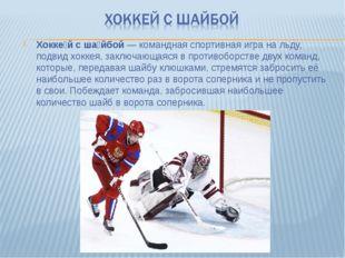 Хокке́й с ша́йбой— командная спортивная игра на льду, подвид хоккея, заключа