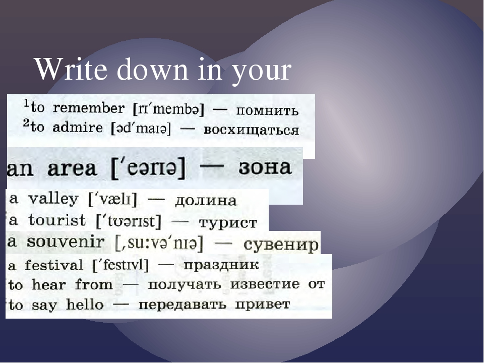 Write down in your vocabulary