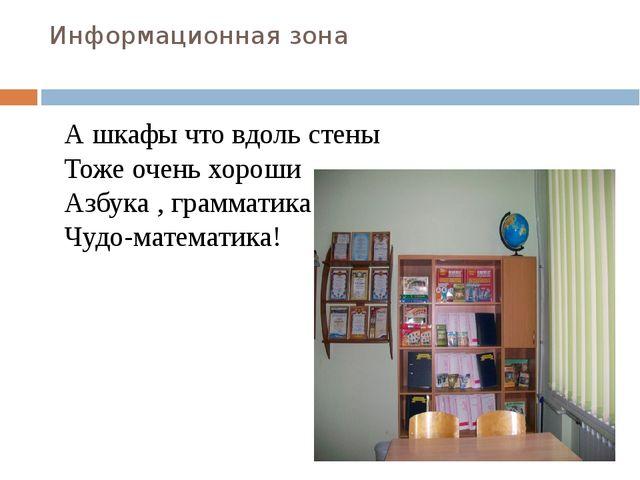 Информационная зона А шкафы что вдоль стены Тоже очень хороши Азбука , грамма...