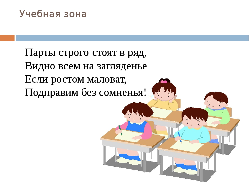 Учебная зона Парты строго стоят в ряд, Видно всем на загляденье Если ростом м...