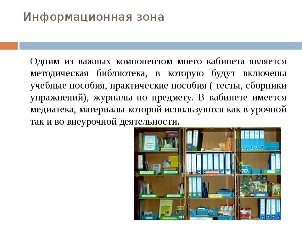 Информационная зона Одним из важных компонентом моего кабинета является метод...