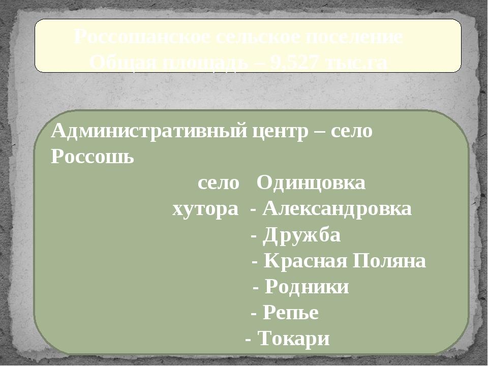 Россошанское сельское поселение Общая площадь – 9,527 тыс.га Административны...