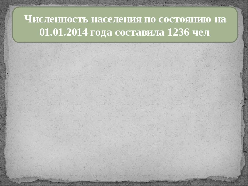 Численность населения по состоянию на 01.01.2014 года составила 1236 чел.