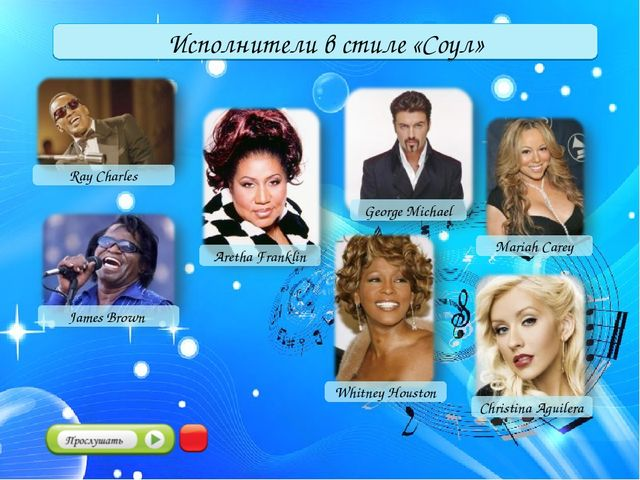 Исполнители в стиле «Соул» Ray Charles Christina Aguilera Aretha Franklin Geo...