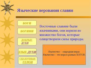 Языческие верования славян БОГИ БОГИНИ ЗЛЫЕ ДУХИ СКАЗОЧНЫЕ ГЕРОИ Восточные с