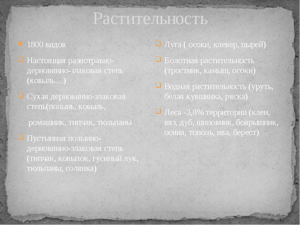 Растительность 1800 видов Настоящая разнотравно-дерновинно-злаковая степь (ко...
