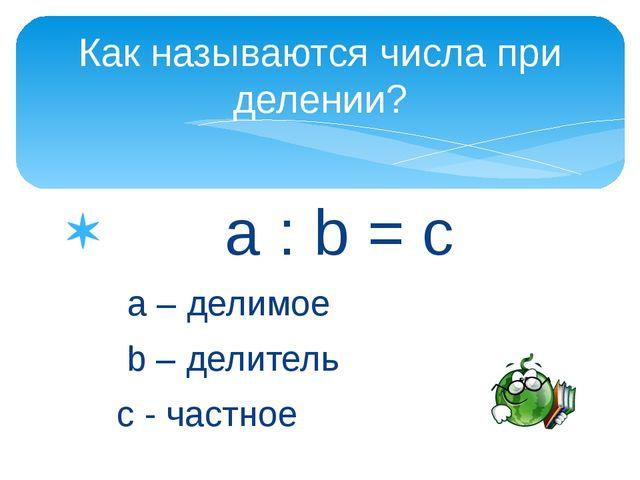 a : b = c a – делимое b – делитель с - частное Как называются числа при деле...