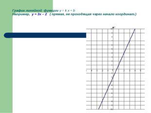 График линейной функции y = k x + b Например, у = 3х – 2 ( прямая, не проходя