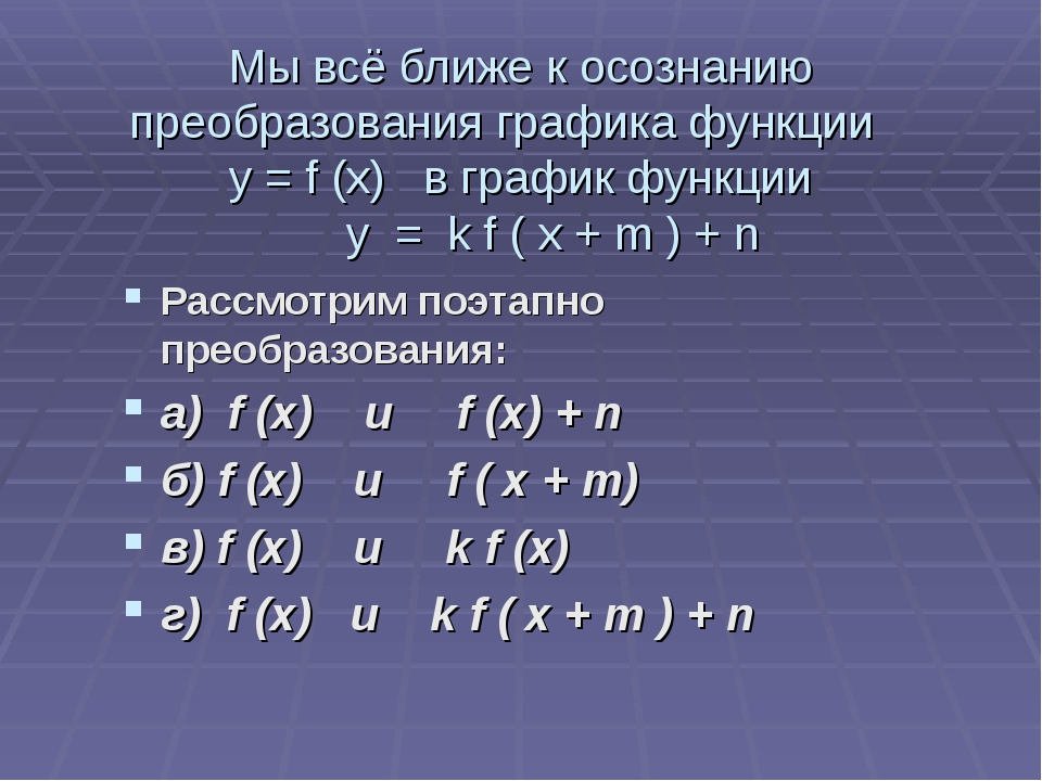 Мы всё ближе к осознанию преобразования графика функции у = f (x) в график фу...