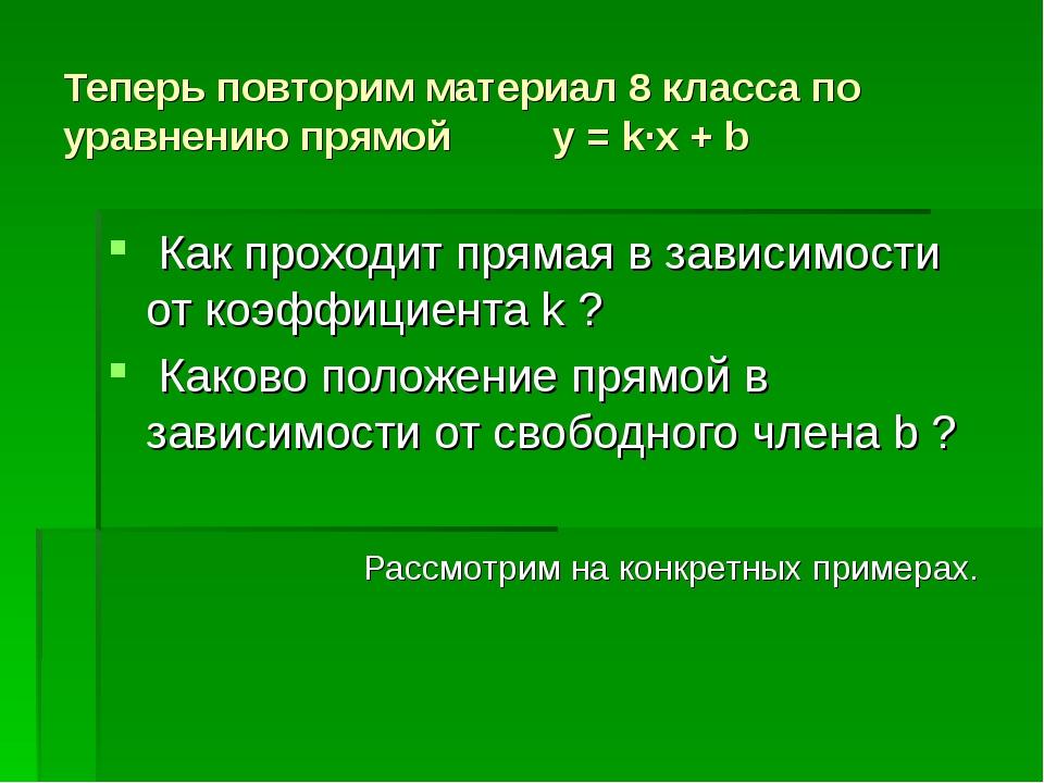 Теперь повторим материал 8 класса по уравнению прямой y = k∙x + b Как проходи...