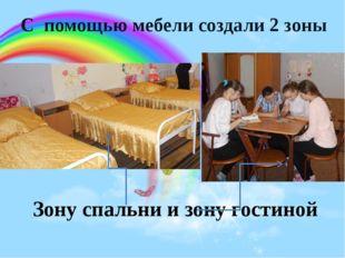 С помощью мебели создали 2 зоны Зону спальни и зону гостиной