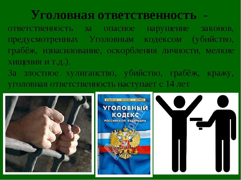 Уголовная ответственность - ответственность за опасное нарушение законов, пр...