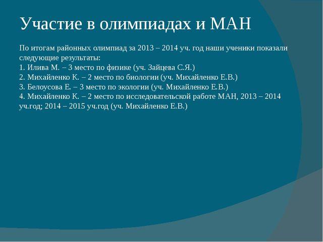 Участие в олимпиадах и МАН По итогам районных олимпиад за 2013 – 2014 уч. год...