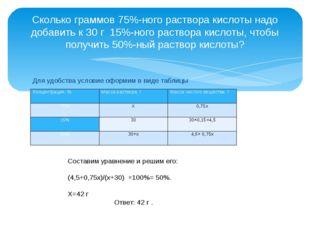 Для удобства условие оформим в виде таблицы  Сколько граммов 75%-ного раст