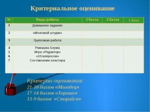Критериальное оценивание Критерии оценивания: 21-18 баллов «Молодец» 17-14 б