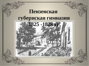 Пензенская губернская гимназия 1825 -1828 гг.