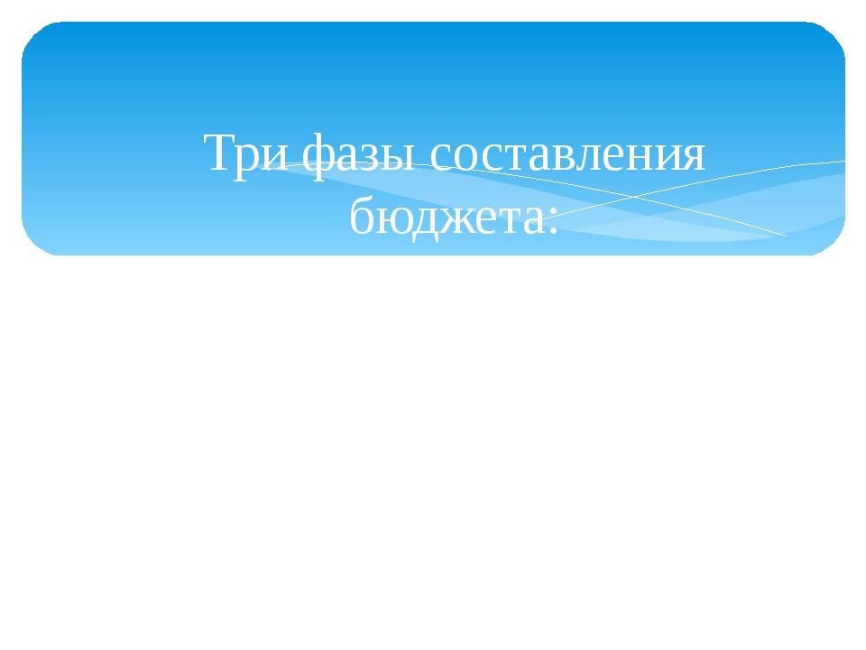 Три фазы составления бюджета: - постановка финансовых целей; - оценка доходо...