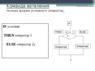 Команда ветвления полная форма условного оператор IF условие THEN оператор 1