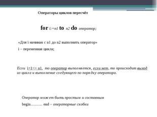 Операторы циклов пересчёт for i:=n1 to n2 do оператор; «Для i начиная с n1 до