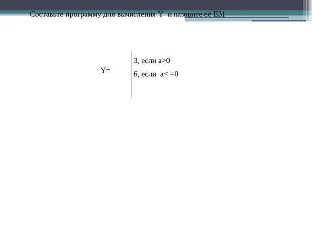 3, если a>0 6, если a< =0 Составьте программу для вычисления Y и назовите её...