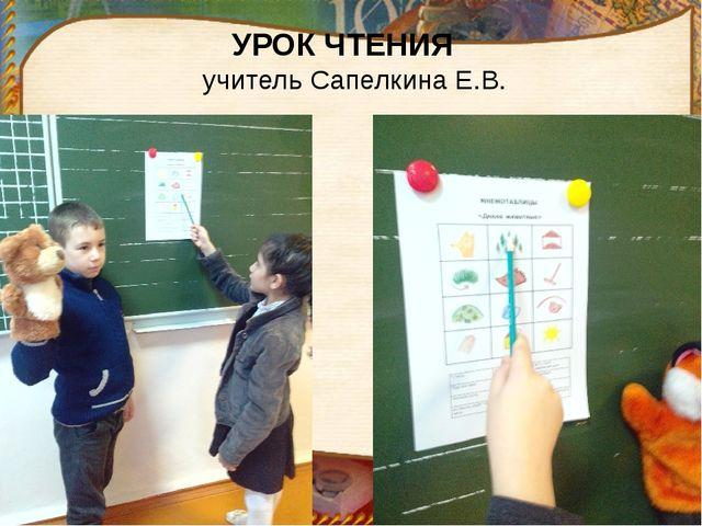 УРОК ЧТЕНИЯ учитель Сапелкина Е.В.