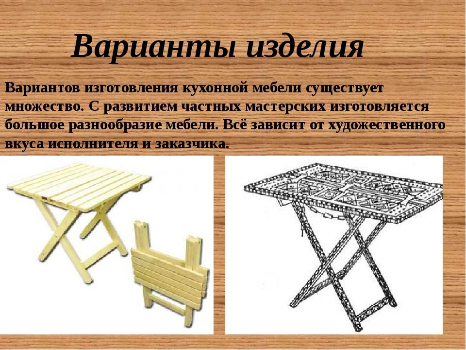 Варианты изделия Вариантов изготовления кухонной мебели существует множество....