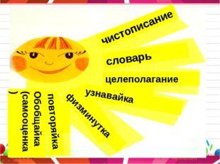 чистописание словарь целеполагание узнавайка физминутка повторяйка Обобщайка