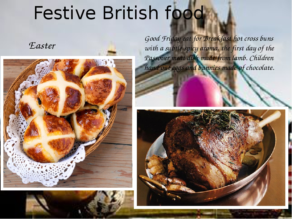 Festive British food Easter Good Friday eat for Breakfast hot cross buns with...
