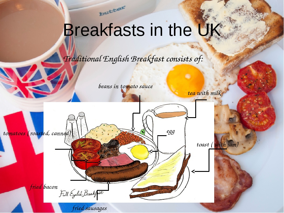 Breakfasts in the UK Traditional English Breakfast consists of: beans in toma...