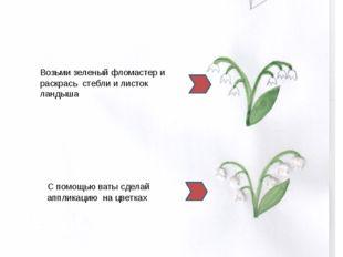 Цветок Фломастер + вата Возьми простой карандаш и нарисуй силуэт ландышей Во